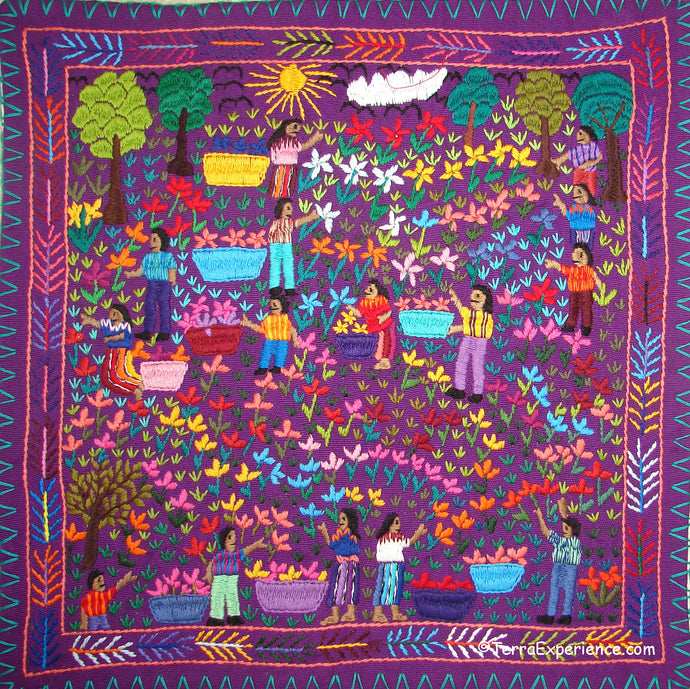 Mayan Embroidered Folk Art Tapestry 19-06:  Corte de Flores (Cutting the FLowers) - Catarina Quino