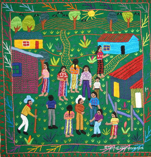 Mayan Embroidered Folk Art Tapestry 19-07:  La Participacion (The Participation) - Manuela Juracan