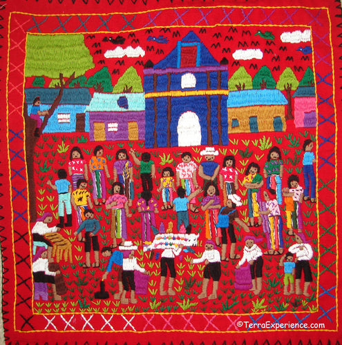 Mayan Embroidered Folk Art Tapestry 19-09:  Quema Del Torito (Burning the Bull - A Dance) - Sandra Morales