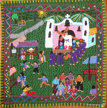 "Mayan Embroidered Folk Art Tapestry 13-09:    ""La Feria"" (The Fair - Actually Easter Procession), Maria Morales C"