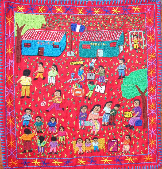 Mayan Embroidered Folk Art Tapestry 13-07: