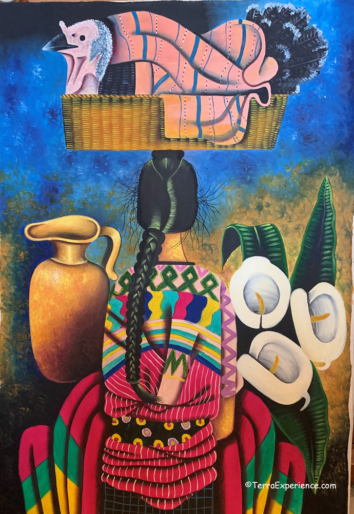 Unsigned Large Oil Painting - Mayan Woman - Espalda View  (P-L-UNK-B)  22