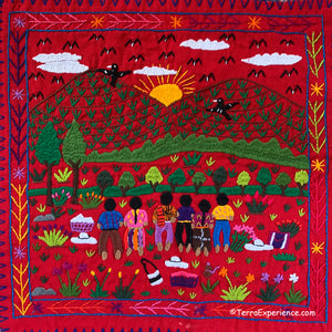 "Mayan Embroidered Folk Art Tapestry 20-A:  ""Referencia a la Madre Tierra"" (Reverence for Mother Earth)"