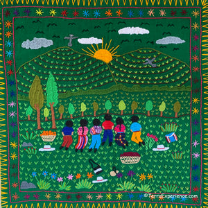 "Mayan Embroidered Folk Art Tapestry 20-B:  ""Agradeciminto a la Madre Tierra"" (Gratitude to Mother Earth)"