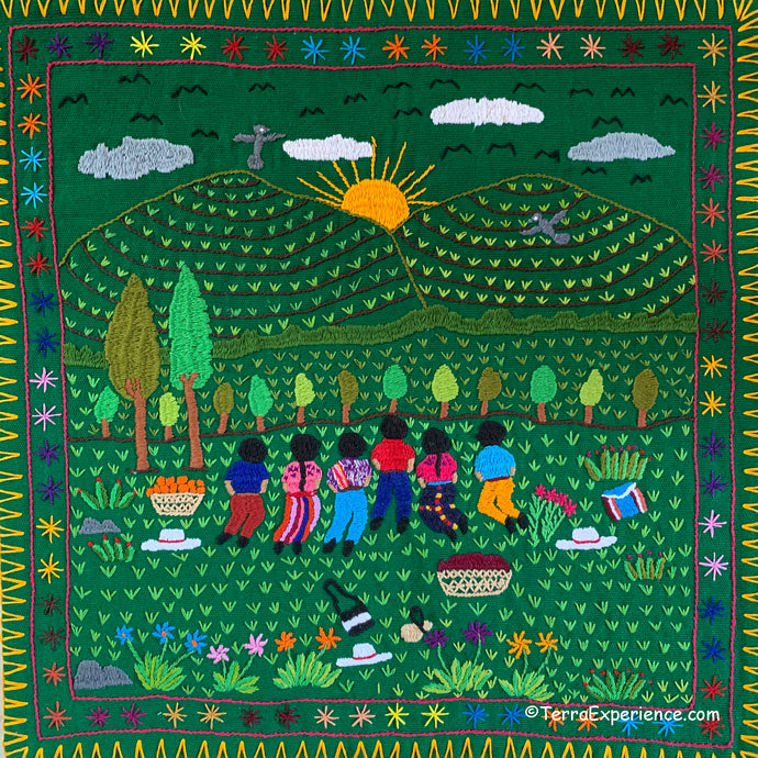 Mayan Embroidered Folk Art Tapestry 20-B: