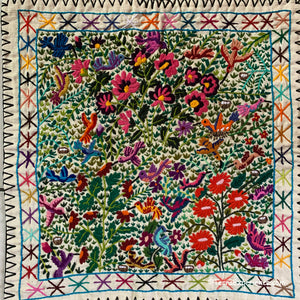 "Mayan Embroidered Folk Art Tapestry 20-C:  ""El Colibris"" (The Hummingbirds) - Josefina Quino"