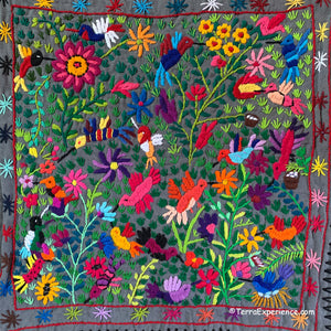 "Mayan Embroidered Folk Art Tapestry 20-D:  ""Tema El Colibris"" (Theme The Hummingbirds) - Josefina Quino"