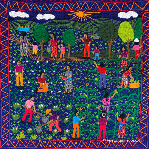 Mayan Embroidered Folk Art Tapestry 20-E: