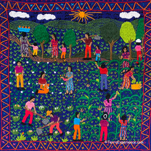 "Mayan Embroidered Folk Art Tapestry 20-E:  ""La Cosecha"" (The Harvest) - Delma Selena Cuy Z."