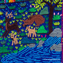 "Mayan Embroidered Folk Art Tapestry 20-F:  ""Nacimiento de Venados"" (The Birth of the Fawn) - Flory Cuy"