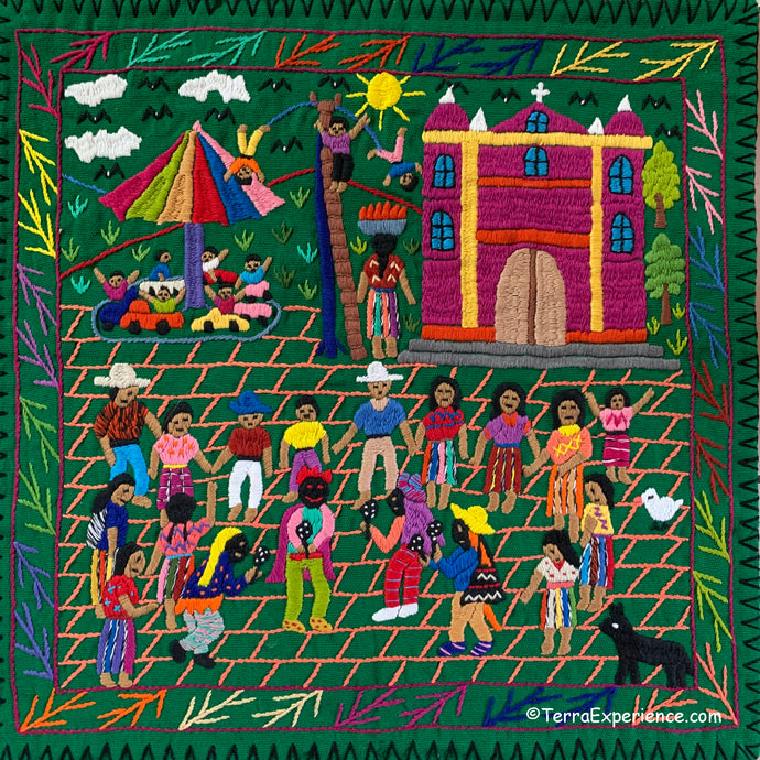 Mayan Embroidered Folk Art Tapestry 20-G: