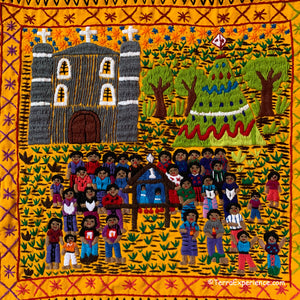 "Mayan Embroidered Folk Art Tapestry 20-H:  ""La Posada"" (The Posada) - Adriana Morales"