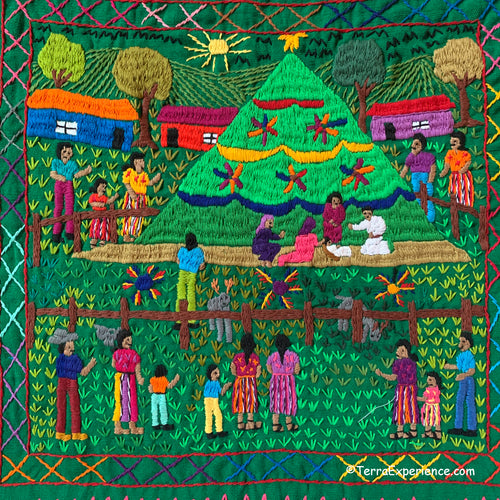 Mayan Embroidered Folk Art Tapestry 20-J: