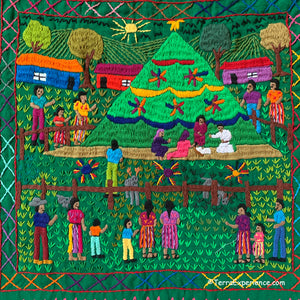 "Mayan Embroidered Folk Art Tapestry 20-J:  ""Arbol Navidad"" (Christmas Tree) - Sandra Morales"