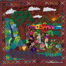 "Mayan Embroidered Folk Art Tapestry 20-i:  ""Agradecimiento la Agua"" (Gratitude to the Water) - Delila Morales"