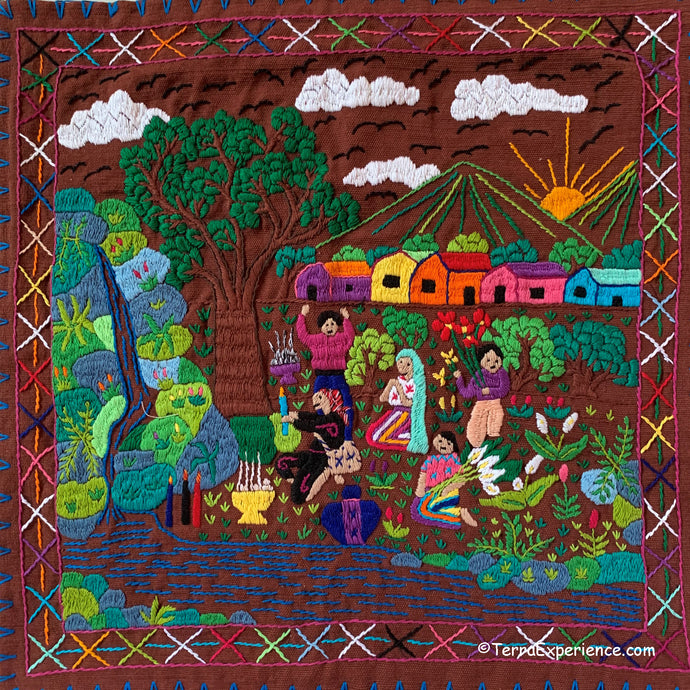 Mayan Embroidered Folk Art Tapestry 20-i: