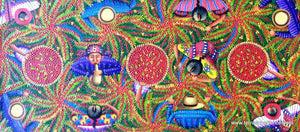 "Angelina Quic Large Oil Painting - Mayan Coffee Harvest Overhead  (P-L-AQ-17C) 12""x27"""