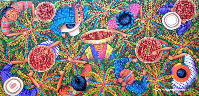Angelina Quic Large Oil Painting - Mayan Coffee Harvest Overhead  (P-L-AQ-17A) 15