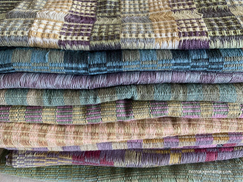 Scarves: Natural Dye Hand Woven Cotton Spring Colors from San Juan La Laguna, Guatemala