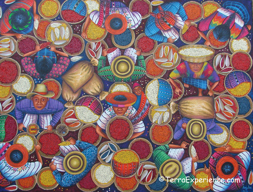 Angelina Quic Large Oil Painting - Mayan Corn and Coffee Market Overhead  (P-L-AQ-19i) 30