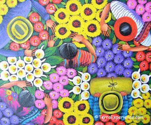 Angelina Quic Oil Painting - Mayan FLower Market Overhead  (P-M-AQ9-19E)