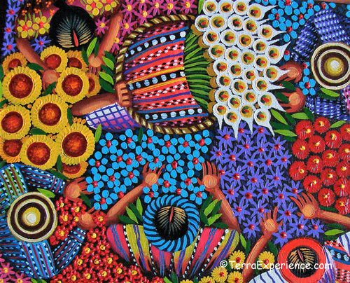 Angelina Quic Oil Painting - Mayan Flower Market Overhead  (P-M-AQ9-19M)