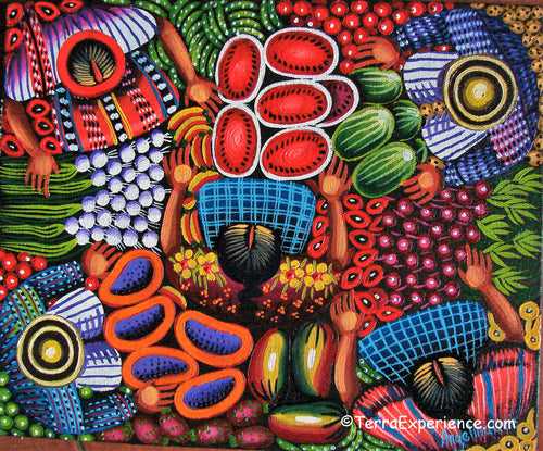 Angelina Quic Oil Painting - Mayan Market Overhead  (P-M-AQ9-19Q)