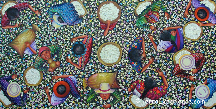 Angelina Quic Large Oil Painting - Mayan Cotton Picking Overhead  (P-L-AQ-19A) 20