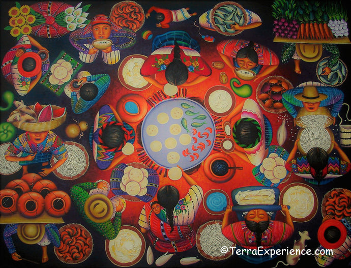 Angelina Quic Large Oil Painting - Mayan Tortilleria Restaurant Overhead  (P-L-AQ-19F) 30