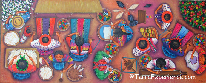 Angelina Quic Large Oil Painting - Mayan Women Weaving and Preparing Looms Overhead  (P-L-AQ-19H) 20