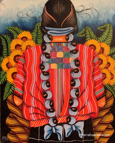 Unsigned Oil Painting - Mayan Woman from San Juan La Laguna - Espalda View  (P-M-MYL-19A)