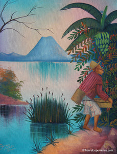 "Antonio Vasquez Yojcom Oil Painting - Coffee Harvest on Lake Atitlan  (P-M-AVY-022)  9"" x 11"""""
