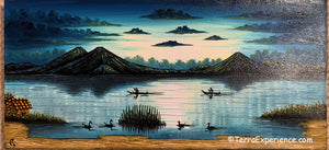 "Carlos Gonzales Lake Atitlan Oil Painting, Evening Sky -  (P-M-GC-20A) 15""x7"""