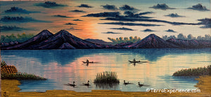 "Carlos Gonzales Lake Atitlan Oil Painting, Evening Sky -  (P-M-GC-20B) 15""x7"""