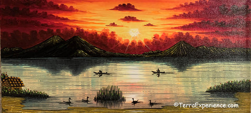 Carlos Gonzales Lake Atitlan Oil Painting, Sunset -  (P-M-GC-20C) 15
