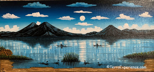 Carlos Gonzales Lake Atitlan Oil Painting,  Moolight Sky -  (P-M-GC-20D) 15