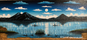 "Carlos Gonzales Lake Atitlan Oil Painting,  Moolight Sky -  (P-M-GC-20D) 15""x7"""