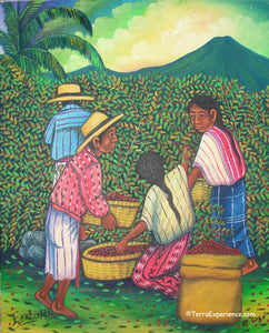 "E Batzin Oil Painting - Mayan Coffee Harvest Lake  (P-M-EB-001)  9""x11"""