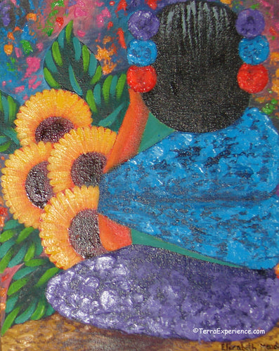 Elizabeth Mendoza Oil Painting - Mayan Woman with Sunflowers  (P-M-EM-19A) 9