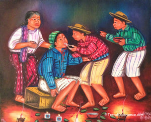 "Mauricio Pur Gonzalez Oil Painting - Mayan Dentistry  (P-M-MPG-001)  9""x11"""