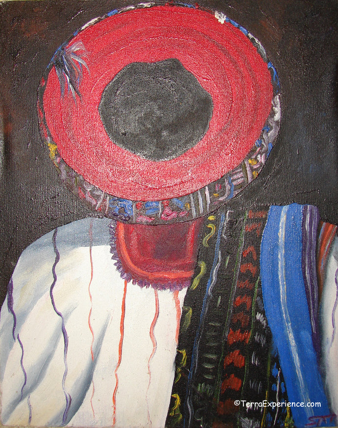 Unsigned Oil Painting - Mayan Woman from Santiago Atitlan - Espalda View  (P-M-UNK-ST-001)  9