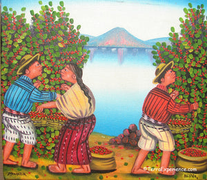 "Mauricio Pur Gonzalez Oil Painting - Mayan Coffee Harvest Lake Atitlan  (P-M-MPG-003)  6""x7"""