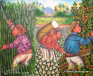 "Clara Luz Pur Gonzalez Oil Painting - Three Mayan Harvests: Coffee, Cotton, and Cane  (P-M-CLPG-001)  6""x7"""