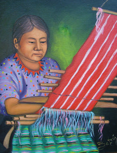 "Batzin Oil Painting - Mayan Woman Weaving  (P-M-B-023)  9""x11"""