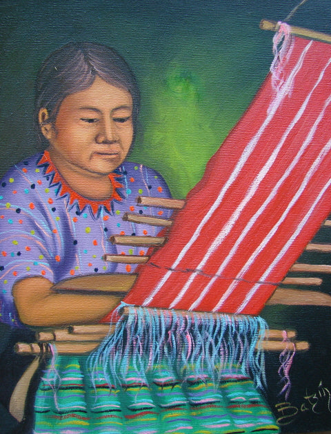 Batzin Oil Painting - Mayan Woman Weaving  (P-M-B-023)  9