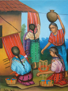 "Batzin Oil Painting - Mayan Women Weaving  (P-M-B-024)  9""x11"""