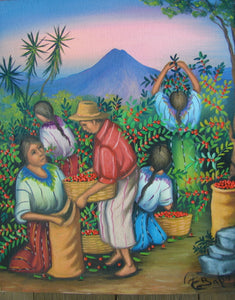 "Batzin Oil Painting - Mayan Coffee Harvest  (P-M-EB-025)  9""x11"""