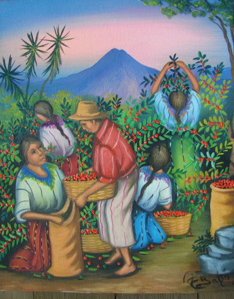 Batzin Oil Painting - Mayan Coffee Harvest  (P-M-EB-025)  9