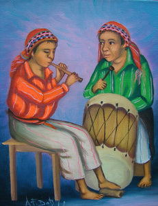 "Batzin Oil Painting - Mayan Music: Flute and Drum  (P-M-EB-026)  9""x11"""