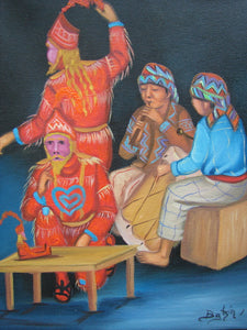 "Batzin Oil Painting - Mayan Ceremony and Musicians  (P-M-EB-027)  9""x11"""